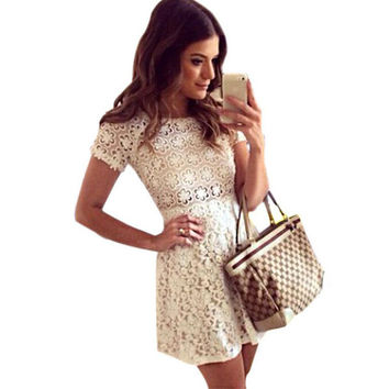 Newest Lace Sexy Casual Women Dresses Fashion Short Sleeve Party Clubwear Spoon Neck Dress Cute Ladies Floral Mini Vestidos