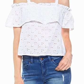 Teeze Me | Spaghetti Strap Cold Shoulder Eyelet Crop Top | White