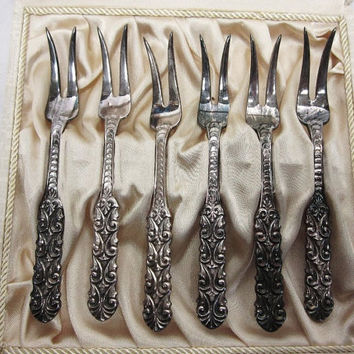 Silverplate Fancy Cocktail Forks in Box Norwegian Eric Christophersen
