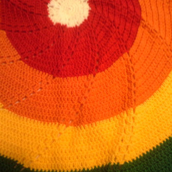 Rainbow CIrcle Baby or Child Afghan Blanket Soft Cheerful Spiral Design Crochet