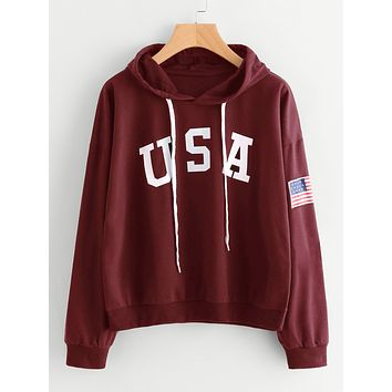 USA Printed Long-Sleeved Hooded Sweater