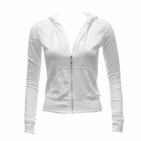 Girls White Cotton Slub Zipper Hoodie Light Weight Jacket