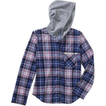 Almost Famous Girls' Plaid Button Down Hoodie, Nabi, Large 14