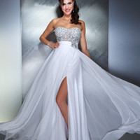Mac Duggal Prom 2013- White Gown With Bling Top - Unique Vintage - Prom dresses, retro dresses, retro swimsuits.