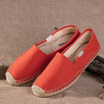 Soludos Red Canvas Platform Smoking Embroidery Slipper