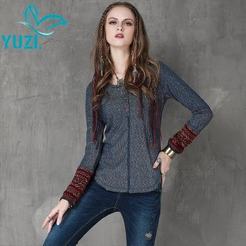 Women Sweater 2017 Yuzi Autumn New Vintage Knitting Pullover Long Sleeve O-Neck Button Patchwork Sweaters Women B9566 Pullovers