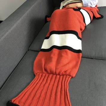 Comfortable Color Block Knitting Fish Tail Shape with Fins Design Blanket
