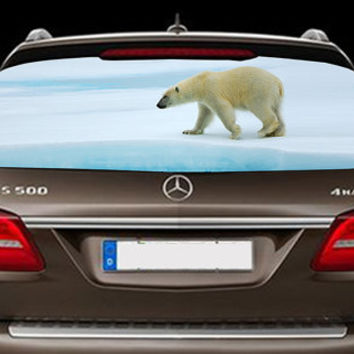 Perfik323 Full Color Print Perforated Film Truck SUV Back Window Sticker polar bear