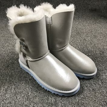 Best Online Sale Ugg 1002174 W Irina Clouds Smoke White Classic Bailey Button Bling Boot Snow Boots