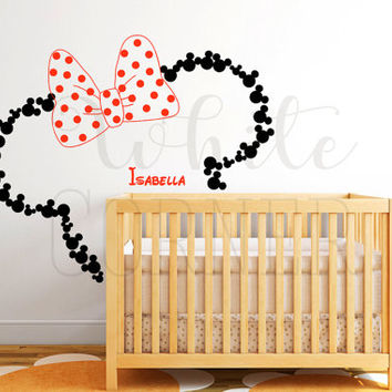 rta 1177 Disney Custom Baby Name Head Mice Ears Mickey Minnie Mouse Gift Kid Children Nursery Wall Decal Vinyl Sticker Art Decor Bedroom