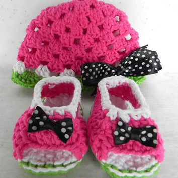 Watermelon Hat and Booties Set