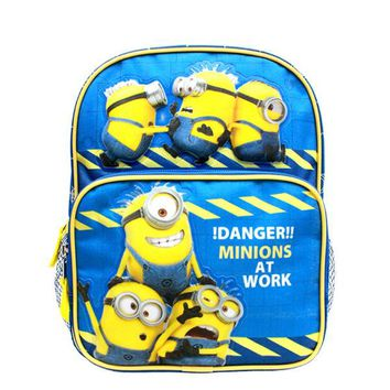 "Despicable Me Minions Boys 10"" Blue School Backpack - Danger Minions At Work!"