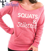 Squats and Stilettos Eco Fleece Sweatshirt. Running Sweater. Gym Sweatshirt. Off Shoulder Sweatshirt. Raw Edge Off Shoulder Eco-Fleece.