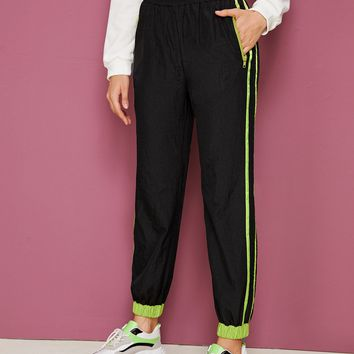 Contrast Striped Side Windbreaker Carrot Pants