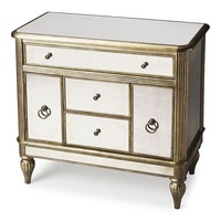 Justine Transitional Rectangular Console Chest Silver
