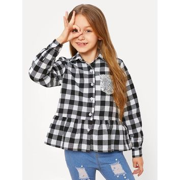 Girls Sequin Pocket Patched Plaid Shirt