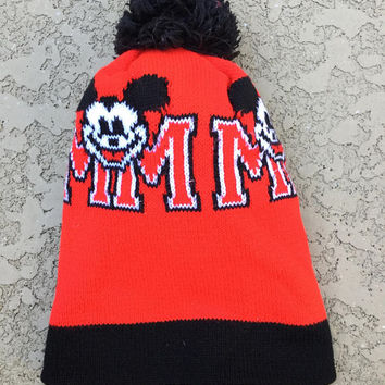 Vintage Mickey Mouse Beanie Pom Pom Hat Red Knit One Size Fits All