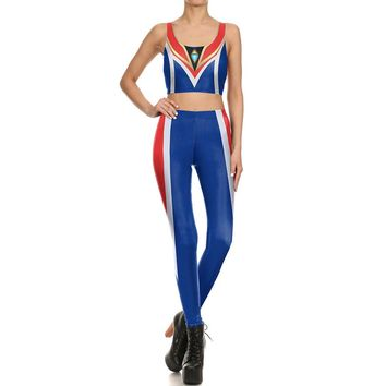 Cosplay Fashion Suit Pattern Sports sets Sleeveless Vest Running Pants Set Game Overwatch Costume Yoga Suits Women