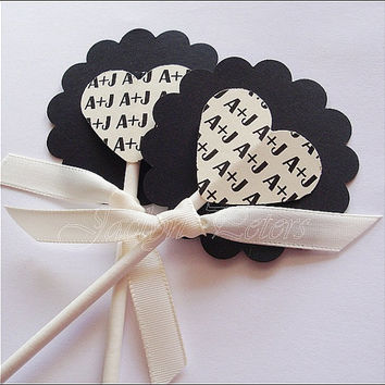 Cupcake Toppers, Personalized Hearts, Wedding Or Bridal Shower, Engagement Party,  Satin Ribbon, Black And Ivory, Custom Colors, Set Of 24