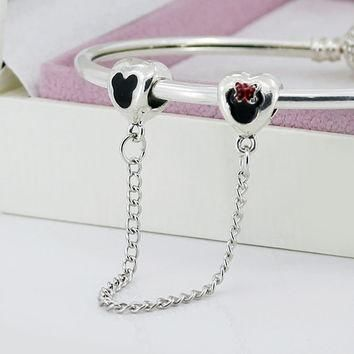 New Safety Chain Alloy Beads Lovely Carton Mouse Silver Bead Charm Fit Pandora Women D