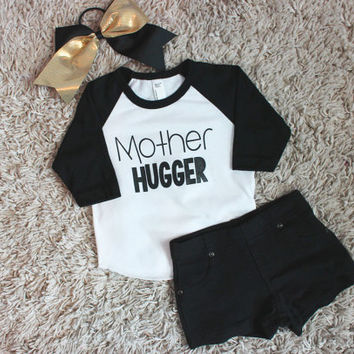 Mother Hugger Unisex Graphic T-Shirt, Handmade Funny T-Shirt, Baby Toddler Clothing, Childrens Clothing, Girls Black Shirt, Boys Black Shirt