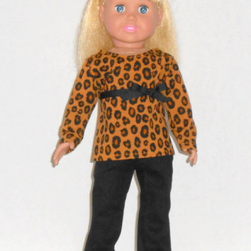 American Girl Doll Clothes Gold Leopard Print Shirt & Black Jeans