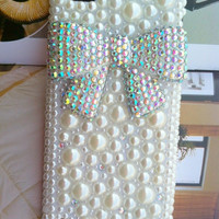 Apple Ipod Touch 5, iPod Touch 5h,iTouch 5,iPod Touch 5 Fashional Bling Charms Phone Case Cover : Pearl  Rhinestone  Lovely Shining Bowknot
