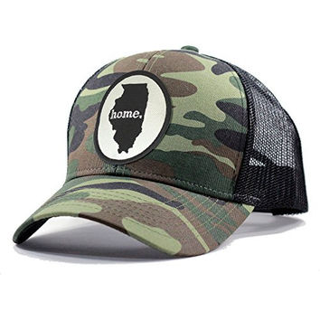 Homeland Tees Men's Illinois Home State Army Camo Trucker Hat - Black