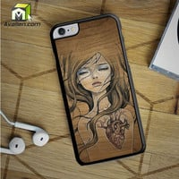 Wood Art Girl iPhone 6S Plus case by Avallen
