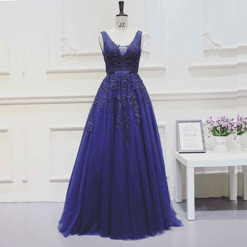 Royal Blue Sleeveless A-Line Prom Dresses Evening Dresses