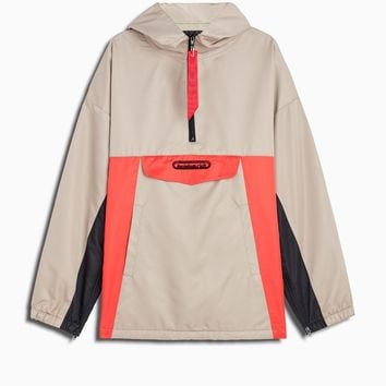 anorak windbreaker / wheat + black + red