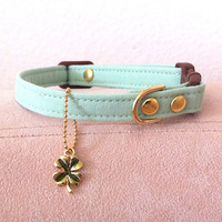 Mint Green Collar with Cloverleaf Charm Organic by cheridogdesign