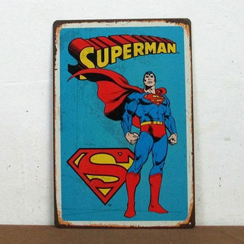 Superman Retro Superhero, Comics, Tin Sign, Home Decor, Man Cave = 1946016068
