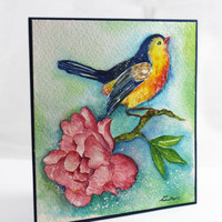 OOAK Original Watercolor Card, NOT A PRINT, Handmade Card, Bird Card, Blank Card, All Occasions, Original Painting, One-of-a-kind Card, Art