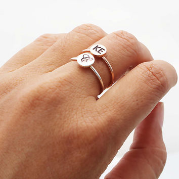 Initial Disc Ring - Initial Name Ring - Custom Stacking Ring - Letter Ring - Twisted Disc Ring
