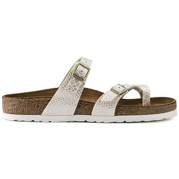 Birkenstock Mayari Birko Flor Shiny Snake Cream 1005047/1005147 Sandals - Ready Stock