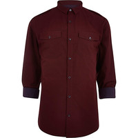 River Island MensDark red stripe rolled up shirt
