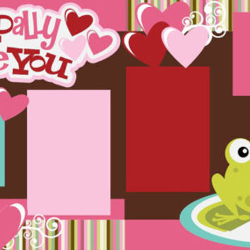 Scrapbook Page Kit or Premade Layout 12X12 2-page Layout- Valentine/Toadally Love you