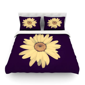 "Robin Dickinson ""Half Crazy"" Black Yellow Featherweight Duvet Cover"