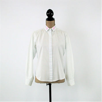 Long Sleeve Button Up Blouse White Embroidered Striped Shirt Women Light Blue Pinstripe Cotton Blouse Vintage Clothing Womens Clothing