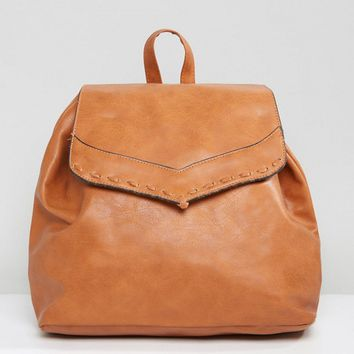 Liquorish Drawstring Backpack with Foldover Flap at asos.com