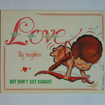 Vintage Love Thy Neighbor 6 x 9 cardboard novelty sign 60's United Card Company Smile Plaque