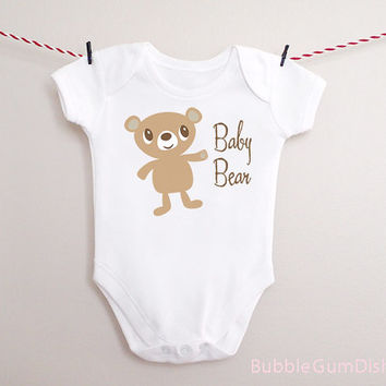Baby Bear Cub Bodysuit Blue Eyed or Brown Eyed Bear Drawing OnePiece Baby Outfit for New Babies & Toddlers