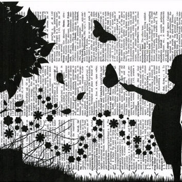 Silhouetter Boy Play with Butterflies, Nursery Room Decor, Baby Shower Gift, Dictionary Art Print, Vintage Poster, Rustic Wall Art, Poster