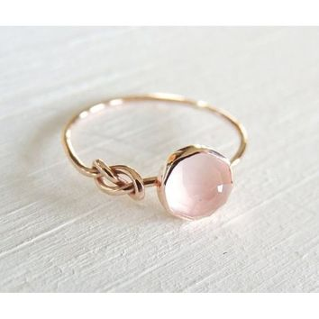 Luxurious Natural Gemstone Pink Moonstone Diamond Ring Solid 18K Rose Gold Ring Infinity Knot Ring Bride Wedding Engagement Fine