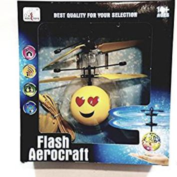 Flash Aerocraft Infra Red Sensor Yellow Love In Your Eyes Emoji Face Helicopter Face Remote Control Helicopter R/C Copter Heli Ball