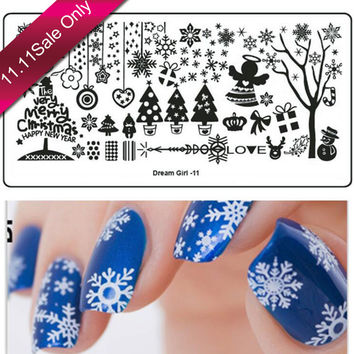 1 x Stainless Steel Snow Flower Xmas Style Nail Art Templates Nail Stamping Plates Nail Art Image Polish Stamp Stencil DIY DG11