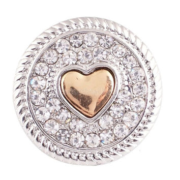 crystal heart love 20mm metal snap button Wrist watches for women sterling jewelry charm DIY bracelet KB6875
