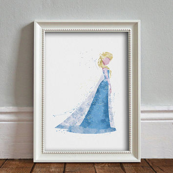 Elsa, Frozen WATERCOLOR Art illustration, Disney Princess, Wall Art, Nursery, Digital Poster Print, INSTANT DOWNLOAD