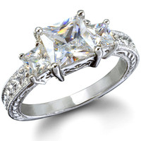 Eva's Sterling Silver Three Stone CZ Ring